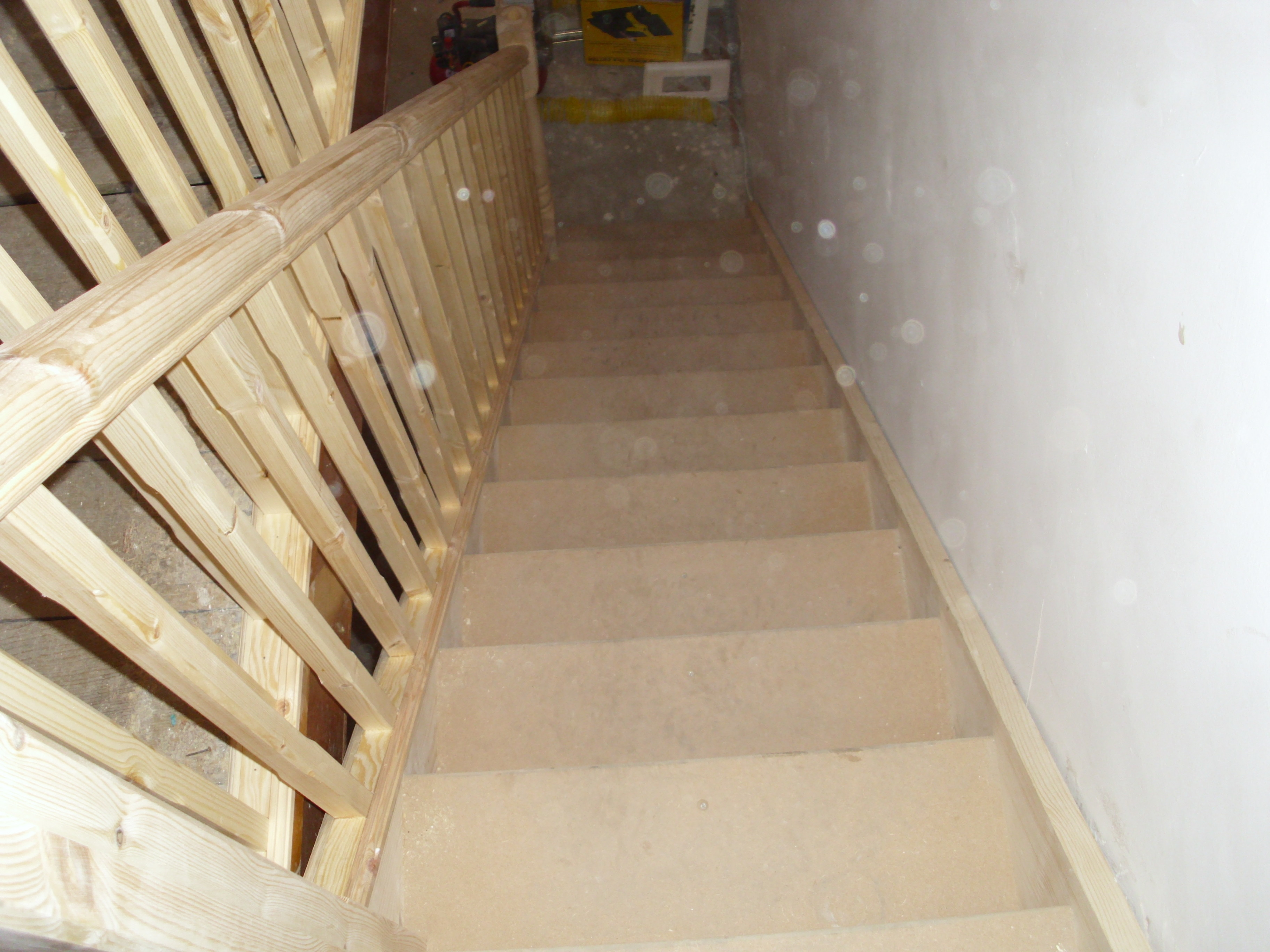 Softwood/MDF Straight Flight Staircase Made And Fitted, With Square Newels  And Spindles.