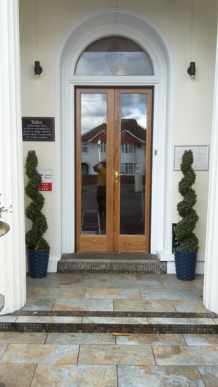 Hotel Entrance Doors : Oak double doors and frame bartlett joinery carpentry